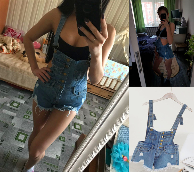 The new college wind denim strap shorts female summer hole loose Korean students was thin sling tide (26)