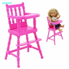 Fashion Pink Assembly Dinner Room Kindergarten Mini Furniture High Chair For Barbie Sister Kelly 1:12 Doll Dollhouse Accessories(China)