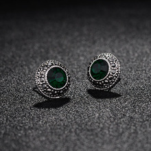 Buy Fashion Crystal Rhinestone Small Earring jewelry Vintage Antique Silver Plated Round Stud Earrings Women/Girls brincos for $1.46 in AliExpress store
