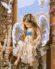 European home decor DIY oil painting angel, according to figures painted on canvas crafts(China)