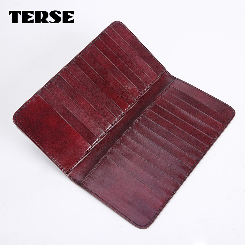 TERSE_Long card holder handmade mens credit card wallet in 2 colors fashion purse for males real leather bag custom logo<br><br>Aliexpress