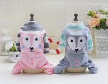 Cute Fox Dog Clothes Summer Stripes Dog Pajamas Small Dog Jumpsuit Soft Cotton Rompers Pet Clothes