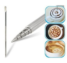 1PC Silver Stainless Steel Latte Cappuccino Variation Coffee Fancy Stitch Fancy Needle Stick 152(China)