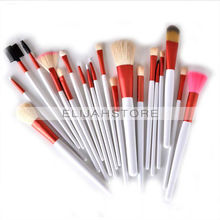 20pcs/set Cosmetic Facial Make up Brush Kit Makeup Tools Nylon Hair Brushes with Pink Roll up Leather PU Bag Free Shipping