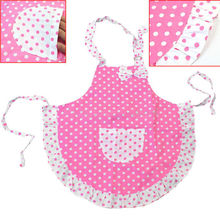 High Quality Cute Bowknot Pink Children Plain Dots Apron Kitchen Cooking Baking Dining Child Bib Craft