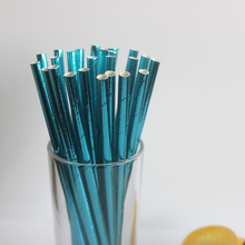 25pcs/lot Foil Purple Paper Straws Shiny Colorful Drinking Straws for kids birthday & wedding decoration mariage party Decor