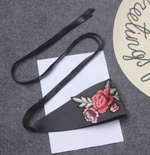 New arrival brand vintage fashion women Chinese Japanese style floral embroidery bandage belt wide black belts bow tie