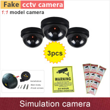 3pcs# Fake camera simulation dummy cctv cameras security cam with flash blinking warning LED lamp ABS plastic dome GANVIS S01(Hong Kong)