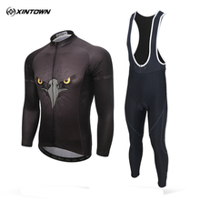 XINTOWN Cycling Jersey Set 3D Eagle Ropa Ciclismo Bike Bicycle Long Sleeves MTB Clothing Shirts Breathable Bib Pants Sets