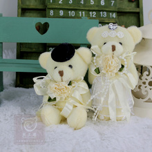 12CM=4.72Inch Couple Teddy Bear Plush Stuffed Weddin Teddy Bear Soft Toy for Boquet, Wedding Car Decoration, Pendant