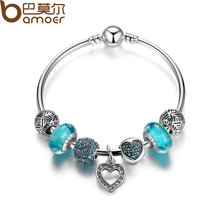 BAMOER Romantic Vintage Bracelets Silver Color Heart Pendant Charm Bracelets & Bangle with Blue Beads Jewelry PA3801