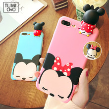 Luxury 3D Cute Mickey Minnie Mouse Case for Iphone 6 6s 7 7 Plus Funny Cartoon Case for Iphone 5 5s SE Soft TPU Cover Girl Back