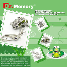 sliver diamond frog USB flash drive U disk Genuine Capacity 8GB 16GB 32GB 64GB Gift Jewelry pen drive pendrive menmory stick(China)