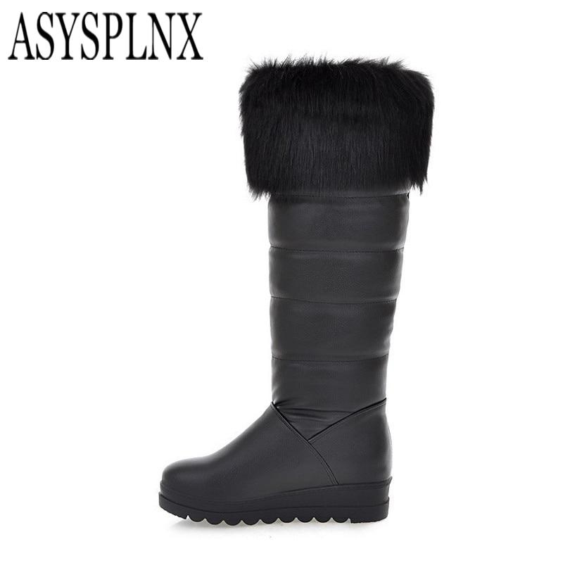ASYSPLNX black white flat women fashion mid calf snow boots 2017 Winter warm platform Western Sexy classic ladies shoes<br><br>Aliexpress