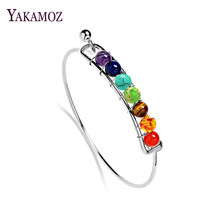 Buy Boho Charm Silver Bangles Natural Stones Beads Bracelet 7 Chakra Healing Balance Bracelets & Bangles Jewelry Women Gifts for $1.45 in AliExpress store