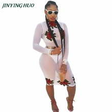 JINYINGHUO 2017 Women New white bandage bodycon Knee Length Dresses Sexy Floral Long sleeve party evening woman club wear H020(China)