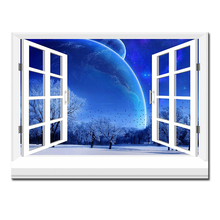 3d effective windows earth Wall Painting pictures Home Decorative Art Picture Paint on Canvas Prints wall painting no framed
