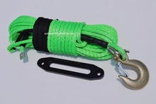 "12mm*30m Green Winch Rope Hook and 10"" ATV Winch Fairlead,Synthetic Winch Cable,Off Road Rope,Towing Ropes(China)"