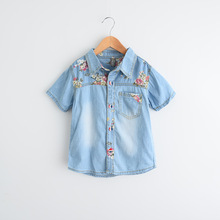 Brand Boy Denim Shirt Cotton Cowboy Printing Girls Blouses Fashion Girls Boutique Clothing 2-6Y Kids Clothing Wholesale(China)