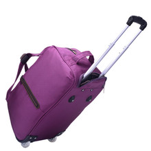 Hand Luggage Trolley Travel Bag Waterproof Oxford Suitcase Bags On Wheels Unisex Rolling Duffle Bag(China)
