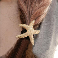 T244 new Fashion punk European and American Hair Accesories metallic starfish Hair Bands hair rope headbands women girl jewelry(China)