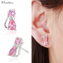 Cute 925 Sterling Silver Pink CZ Zircon Kitty Cat Gato Stud Earrings For Women Children Girls Kids Jewellery Gift brinco pequeno