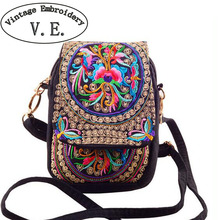 Chinese Vintage Embroidery Bag National Ethnic Embroidered canvas cover shoulder messenger bags small coins Phone bags(China)