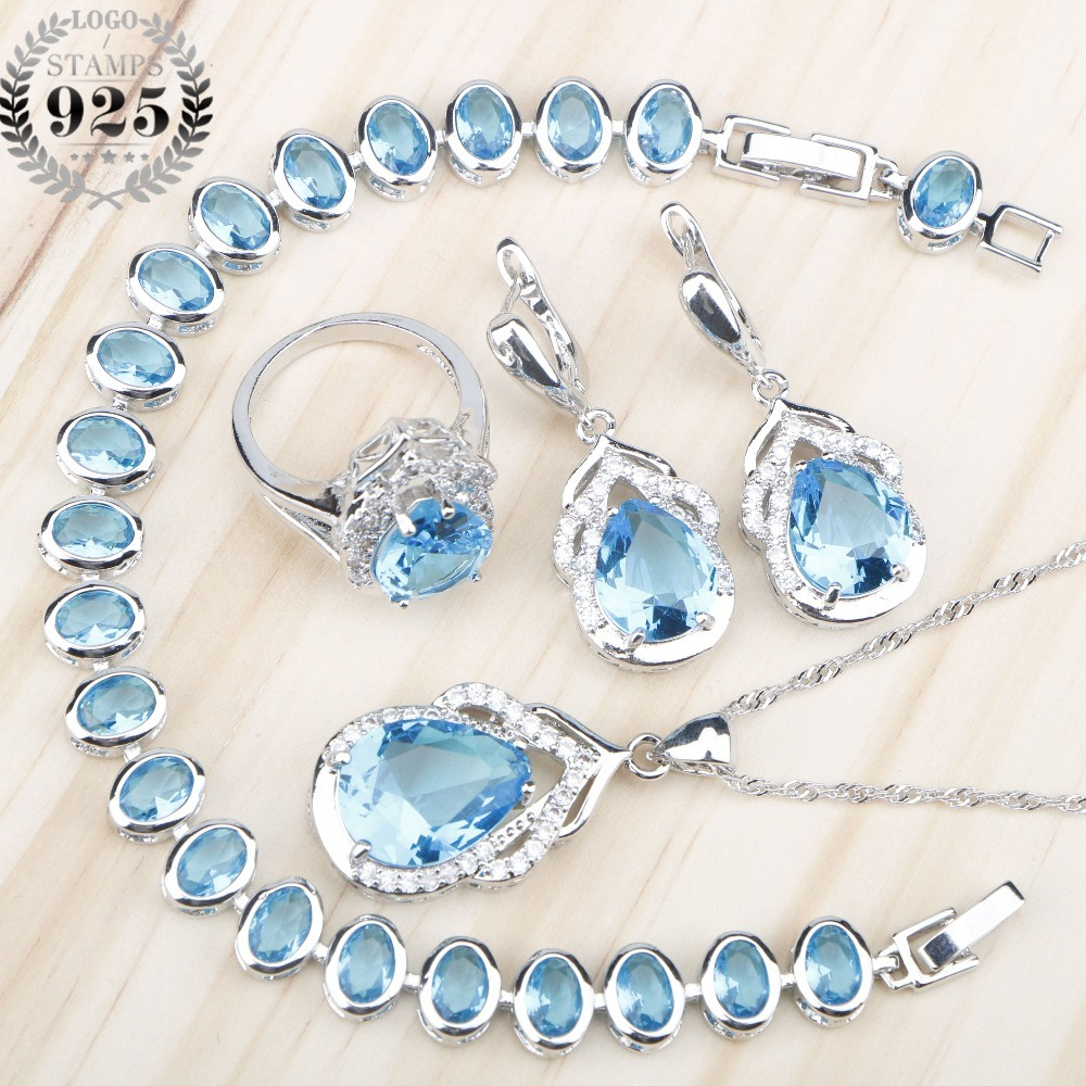 Wedding-Jewelry-Sets Bracelets Necklace Pendant Charms Zircon Stones Silver 925 Blue title=