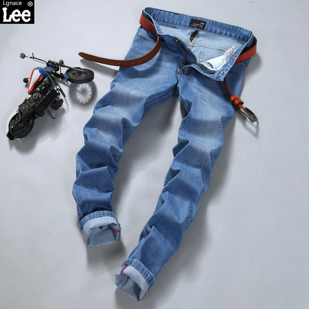 New 2017 famous brand men jeans summer jeans mens thin straight light grey elastic long trousers jeans for men denim pants Y407Одежда и ак�е��уары<br><br><br>Aliexpress