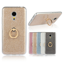 Bling Glitter Ring Holder Stand Soft TPU Phone Cases Cover for MEIZU MX5 Case Cellphone Accessories(China)
