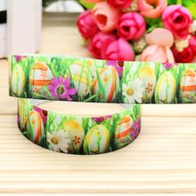 7/8'' Free shipping easter printed grosgrain ribbon hair bow headwear party decoration wholesale OEM 22mm H4571