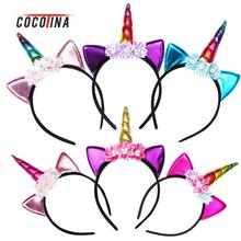 New Cat Ear Unicorn Hairband Hair Accessories For Kids Female Great Christmas Halloween Party Unicorn Hair Hoop COCOTINA D03087