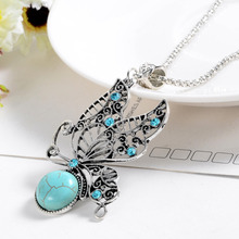 Bohemian National Customs Hollow Butterfly Long Necklace Sweater Chain Women Silver Chain Necklace