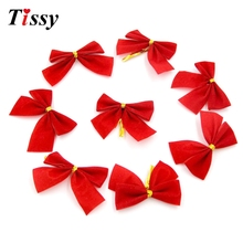 24PCS Christmas Bow Gold Christmas Ornaments Bows DIY Xmas Tree Decoration Home Decor Wedding/Christmas Party Decoration(China)