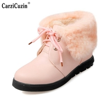 Women Round Toe Ankle Boots Female Sweet Lace Up Flat Shoes Woman Warm Fur Autumn Winter Shoes Fashion Martin Boot Size 34-43(China)