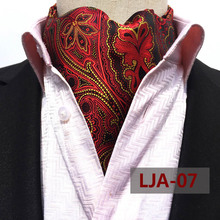 British Style Designer's Men Fashion Ascot Wedding Banquet Neckerchief High Quality Woven Red with Yellow Paisley