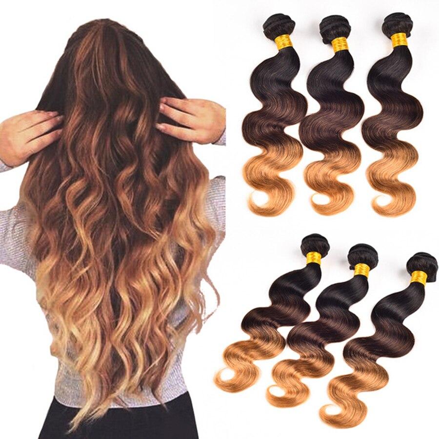 Ombre Human Hair Weave 4 Bundles Ombre Brazilian Hair Weave Bundles T1b/4/27 Blonde Ombre Brazilian Body wave 3 Tones Body Wave<br><br>Aliexpress