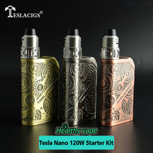 100% Original Electronic Cigarettes Tesla Nano 120W VW APV Box Mod kit ARROW RDTA Tank 2017 best Mechanical Mod Vape Vaporizer