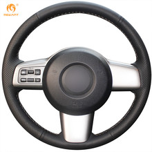 MEWANT Black Artificial Leather Car Steering Wheel Cover for Mazda 2 2008-2014