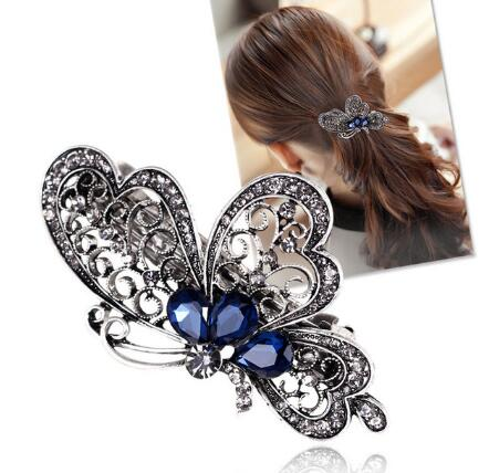2016 high quality Fashion blue butterfly hair clip women luxurious girl hair accessories trendy animal hairs accessoires jewelry(China (Mainland))