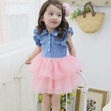 2-7Y Toddler Kid Girl Dress Princess Denim Gauze Tutu Ruffle 1PC Dress
