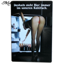 [ Mike86 ] Sexy Lady Open Freezer Bier Tin sign Art  wall decoration House Cafe Bar Vintage Metal craft A-245 Mix order 20*30 CM
