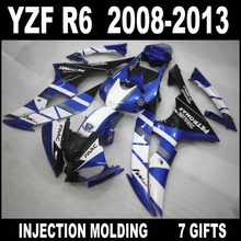 100% fit injection mold for 08 09 10 11 12 13 YAMAHA R6 fairings popular white blue black 2008 - 2013 YZF R6 fairing kit SCF74(China)