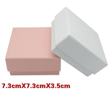 50pcs/lot 7.3*7.3*3.5cm White Pink Box For Jewelry Necklace Pendant Gift Packaging Boxes Ring Earring Carring Cases(China)