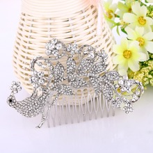 Bella Fashion Animal Peacock Bridal Hair Comb Pins Clear Austrian Crystal Head Piece For Women Wedding Hair Piece Party Jewelry(China)