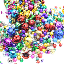 Lucia Crafts 50g/lot,approx 50-100pcs 6-24mm random mixed color cute Jingle bell for Christmas decoration 046011004(China)