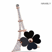 High Quality Gold Metal Tower Brooch Clover Crystal Brooches For Female Pins Lapel Pin Women Wedding Scarf Clip Collar Tips(China)