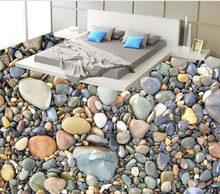 HD 3D Stone Wallpaper Bathroom Living Room Floor Wallpaper Stone And Dolphin Design Waterproof PVC Floor Wallpaper