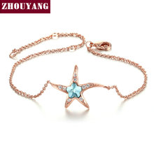 Lovely Blue Crytsal Starfish Fashion Jewelry Bracelet For Woman Girl Party Work Gift Wholesale Top Quality ZYH149(China)