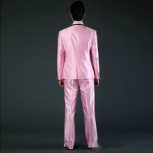 New Pink Wedding Suit For Men Custom Made Groom Tuxedos (Jacket+Pant+Bow) Designer Blazers Latest Coat Pant Designs Tunic Suits